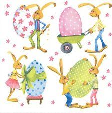 2 Serviettes en papier Pâques Oeuf Lapin Paper Napkins Easter Eggs Rabbit
