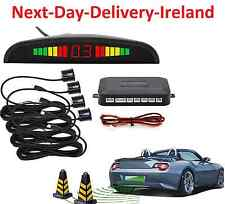 Car LED Display Backup Radar System Buzzing Sound Warning 4 Parking Sensor Black