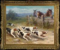 "Old Master-Art Antique portrait oil Painting animal horse dog on canvas 30""x40"""