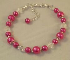 Pink pearl and crystal beaded bracelet bridesmaid xmas gift for her w/ gift box