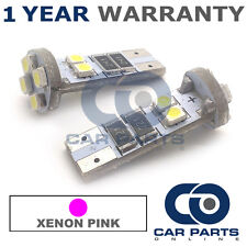 2X PINK W5W 501 SIDELIGHT NUMBER PLATE INTERIOR REPEATER 8 SMD LED BULBS CANBUS