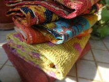 REVERSIBLE BLANKET VINTAGE KANTHA QUILT LOT HANDMADE COTTON  BEDSPREAD THROW NEW
