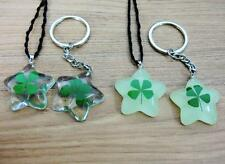 12 keychain pendant real green four leaf clover five star lucid glow symbol