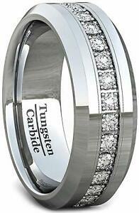 Men Engagement & Fashions Wedding Band 8mm Polished Tungsten Ring Cubic Zircon