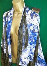 New ROBERTO CAVALLI £575 Blue SILK Tassel Boho SHAWL WRAP 160x68cm+Bronze Fringe