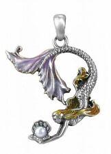 Mermaid Necklace Pendant Celeste Pearl Diver Pewter w Cord Rhinestone #2915