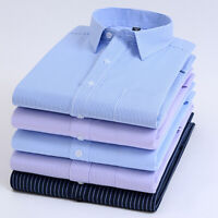 Mens Dress Shirts Slim Long Sleeves Business Multicolor Luxury No Ironing EC6547