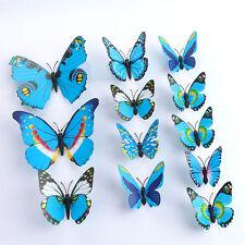 3D À faire soi-même Papillon Bleu Autocollant Mural Papillon Décoration Chambre Stickers