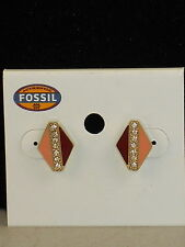 Fossil Brand Gold Stainless ARTIST INSPIRED Color Triangle Stud Earrings JF02103