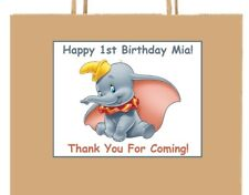 18 Personalized DumbO inspired party stickers,birthday favors labels supplies