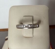 14K White Gold Channel Set Baguette Diamond Band Ring - Size 5