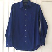 M&S Marks & Spencer Long Sleeve Men's Shirt Size 15.5 Inch Blue Excellent Cotton