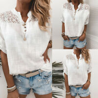 Women Comfort Lace V Neck Short Sleeve T Shirt Casual Tunic Solid Blouse Top Tee