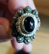 Vintage Womens Silver Ring w/ ONYX stone Adjustable Mexico Alpaca Hide Away Spot