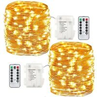 100 LED Lichterkette Drahtlichterkette Fernbedienung Timer Batterie Warmweiß RR