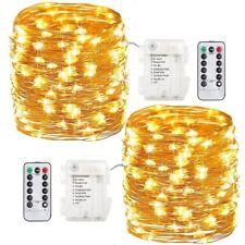 100 LED Lichterkette Drahtlichterkette Fernbedienung Timer Batterie Warmwei�Ÿ RR