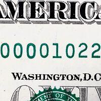 2013 $1 FRN Fancy Serial Number D00001022H Low Serial Low Sum Chicopee  ZIP CODE