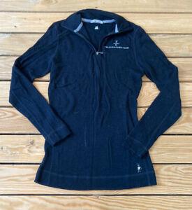 smartwool women's Yellowstone Club half zip wool pullover top size M black M6