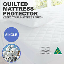 Aus Made SINGLE Fitted Cotton Cover Quilted Mattress Protector Topper Underlay