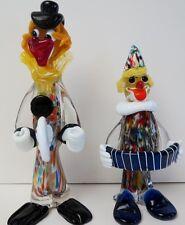 Pair Of Murano Italian Art Glass Art Glass  Clowns One With Gondola Label