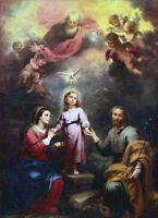 Oil painting Bartolome Esteban Murillo - The Two Trinities Holy Family & angels