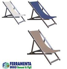 Sedia sdraio da mare spiaggia richiudibile braccioli in alluminio piscina bianco