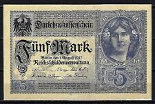 Allemagne  - Germany billet de 5 mark (1) pick 56b 1 aout 1917 Very Fine