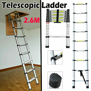 2.6m Aluminum Telescopic Collapsible Loft Folding Hatch Attic Stairs Ladder DIY