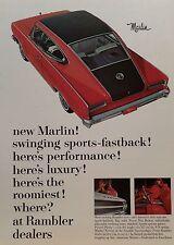 1965 AMC MARLIN-AD/PICTURE/PRINT-  66 67 68 69 AMX RAMBLER 327 CI AMERICAN MOTOR