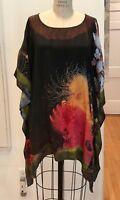 Citron Santa Monica Hand-Dyed Asian Garden Silk Jacquard Kimono Blouse Size 2X