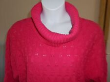 New Kim Rogers Womens Sweater Size XL, Pink, cowl neck, short sleeve *706