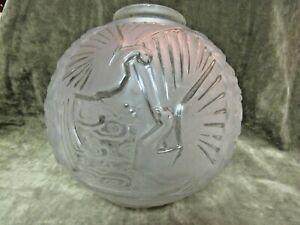 1920's Art Deco French Glass Muller Freres Luneville Globe Light Shade Birds