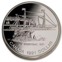 CANADA CANADIAN 1 $ DOLAR DOLLAR PLATA SILVER ARGENT PROOF 1991 BARCO FRONTENAC