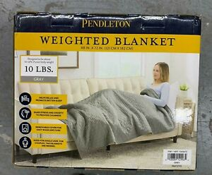 "Pendleton Gray Weighted Blanket w Luxe Quilted Velvet Cover - 15lb - 48"" x 72"""