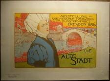 Lithographie Die Alte Stadt OTTO FISCHER 1896 Maitres de l'Affiche