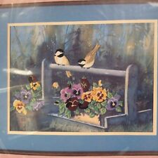 NIPVTG From the Heart Crewel Kit Pansies & Chickadees Color Printed Persian Wool