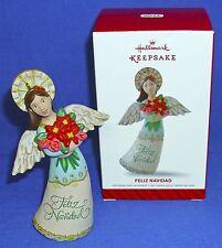 Hallmark Ornament Feliz Navidad 2014 Angel Holding Flower Bouquet NIB Free Ship