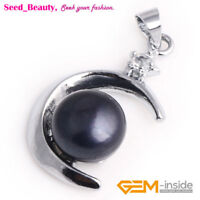 Jewelry 9-10mm Freshwater Pearl Beads White Gold Plated Moon Frame Pendant