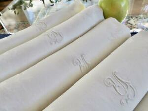 "11 Antique Irish Linen 28"" Napkins Lapkins Nouveau Damask Acanthus Scroll Mono Y"