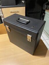 "Vintage Record Carry Storage Case Box Vinyl Black 1970s 12"" singles LPs With Key"