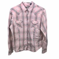 Shyanne Pearl Snap Women's Large Plaid Pink Long Sleeve Collared Western Shirt