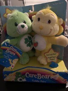 "VINTAGE Care Bears Cuddle Pairs Good Luck Bear & Playful Heart Monkey 7"" Plush"