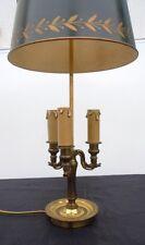 Lampe bouillotte cygne bronze abat-jour tôle peinte style empire XXème