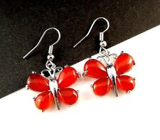1 Pair of Red Carnelian Gemstone Platinum Plated Butterfly Dangle Earrings -#505