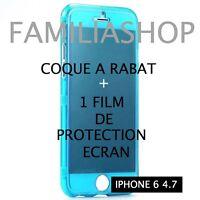 Housse étui pochette coque rabat silicone bleu iphone 6 4.7 + 1 film