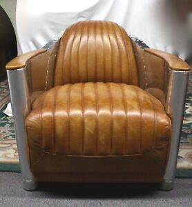 Aviator Tomcat CHAIR Aluminum Sides w/Rivets. Leather Upholstery Comfortable!