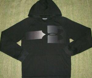 UNDER ARMOUR Sleek BIG LoGo Hoodie Sweatshirt YLG Boys Large L 14/16 ColdGear