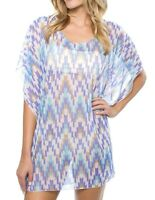 Athena Womens Swimwear Blue Size Large L Cover Up Desert Escape Tunic $75 167