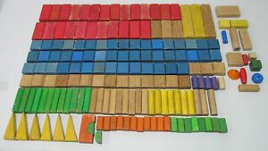 Lot of 160+ Vintage Playskool Colored Wooden Blocks - Red, Blue, Yellow, Green