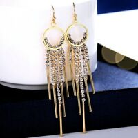 18K Yellow Gold Filled Simulated Diamond Round Shiny Tassel Dangle Earrings